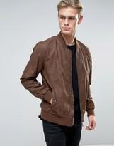 Barney's Originals Barneys Faux Leather Nubuck Bomber Jacket