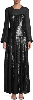 BCBGMAXAZRIA Chiffon Sleeve Sequin Gown