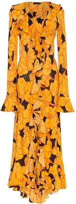 De La Vali Tangerine Ruffle Silk Maxi Dress