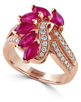 Effy Amore 0.34 TCW Diamonds, Ruby and 14K Rose Gold Ring