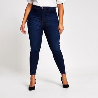 River Island Womens Plus dark Blue Kaia high rise disco jeans