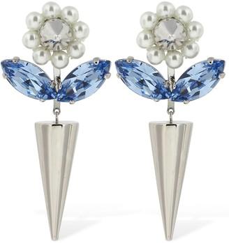 Simone Rocha Embellished Flower Drop Earrings