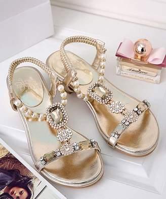 Paotmbu PAOTMBU Women's Sandals gold - Gold Rhinestone-Accent Sandal - Women