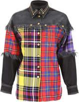 Versace Tartan And Denim Shirt