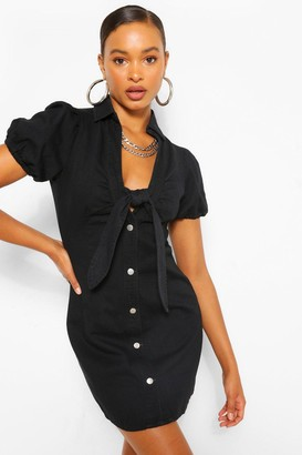 boohoo Denim Puff Sleeve Tie Front Dress