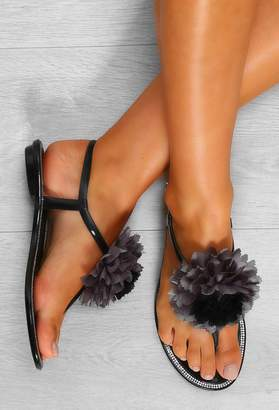 Pink Boutique Baby Blossom Black Flower Toe Post Jelly Sandals
