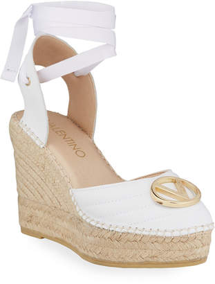 Mario Valentino Valentino By Roble Ribbon Ankle-Wrap Espadrille Wedge Sandals