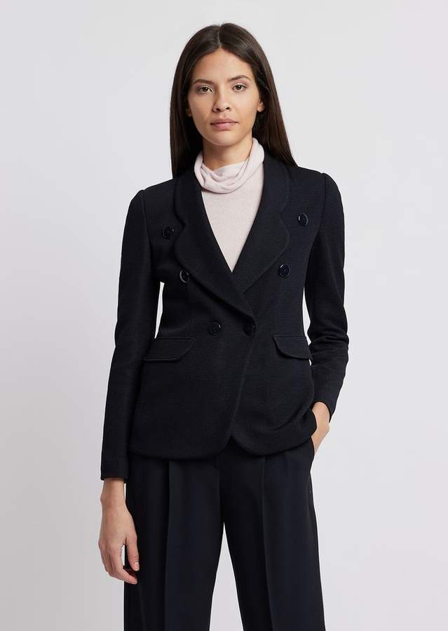 2fedd744c3 Double-Breasted Jacket In Textured Jersey