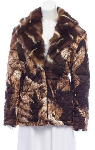 Gianfranco Ferre Fur-Trimmed Printed Jacket