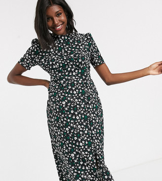 ASOS DESIGN Maternity midi tea dress with buttons in floral print