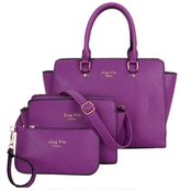 Donaword Women 3 Pcs Fashion PUeather Tote Shouder Bag Cutch Purse Handbag Set Purpe