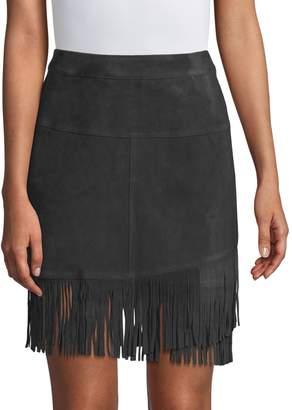 Frame Suede Fringe Mini Skirt