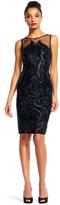 Adrianna Papell AP1E200464 Sequined Illusion Bateau Sheath Dress