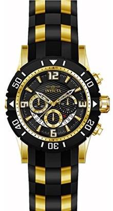 Invicta Men's 23702 Pro Diver Chrono Black Dial Yellow Steel and Black Polyurethane Strap Dive Watch