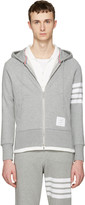 Thom Browne Grey Classic Four Bar Hoodie