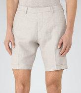 Reiss Reiss Ashford - Tailored Linen Mix Shorts In Brown