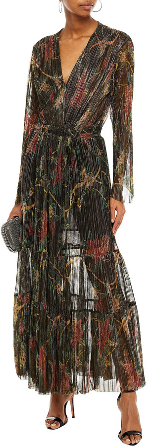 Thumbnail for your product : BA&SH Hend Metallic Floral-print Plisse-knitted Maxi Dress