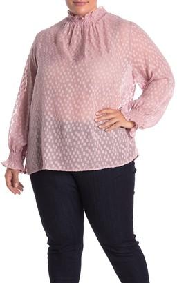 Everleigh Mock Neck Long Sleeve Smocked Sheer Blouse (Plus Size)