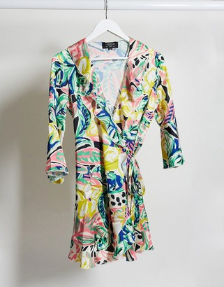 Outrageous Fortune ruffle wrap dress in summer floral print