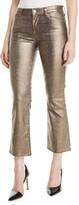 J Brand Selena Mid-Rise Boot-Cut Metallic Animal-Print Jeans