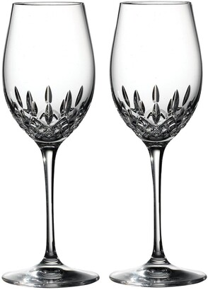 Waterford Lismore Essence Set of 2 Lead Crystal White Wine Glasses