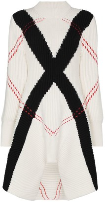 Alexander McQueen Exploded Argyle ribbed-knit dress