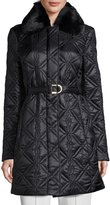Via Spiga Quilted Jacket with Faux-Fur Collar, Black