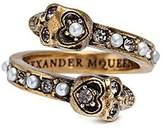 Alexander McQueen Swarovski crystal faux pearl double skull swirl ring