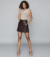 Reiss Mimi - Leather Mini Skirt in Oxblood