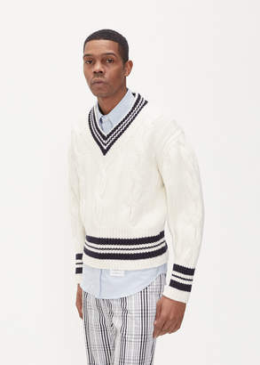 Thom Browne Cabled V-Neck Cricket Sweater