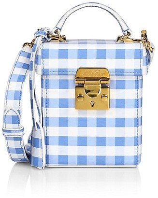 Mark Cross Grace Gingham-Print Leather Crossbody Cube Bag