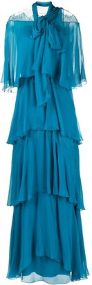 Alberta Ferretti Flounce-Tiered Dress