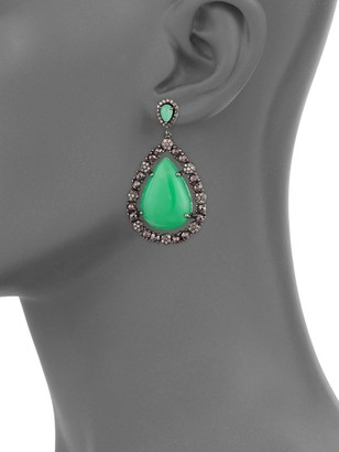 Bavna Sterling Silver, Chrysoprase & Diamond Drop Earrings