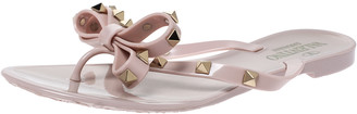 Valentino Pink Rubber Rockstud Bow Thong Flats Size 36