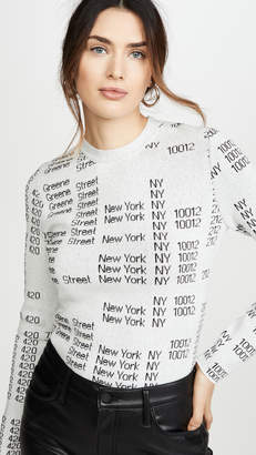 Proenza Schouler White Label Text Jacquard Crew Neck Pullover