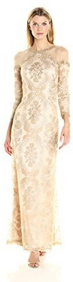 Tadashi Shoji Women's Cold Shoulder Embroidered Lace Gown