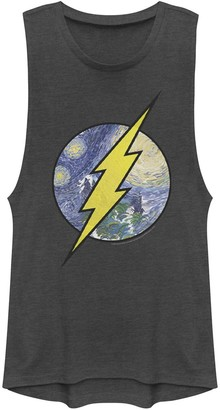 Licensed Character Juniors' DC Comics The Flash Starry Night Logo Muscle Tank