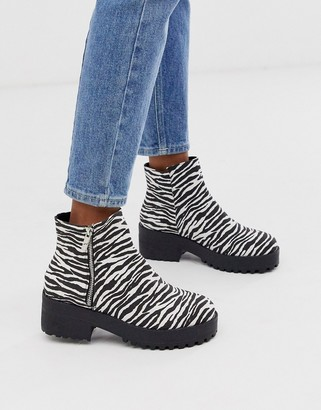 Park Lane side zip chunky boots in zebra mix-Multi