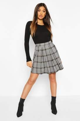 boohoo Jacquard Check Box Pleat Skater Skirt
