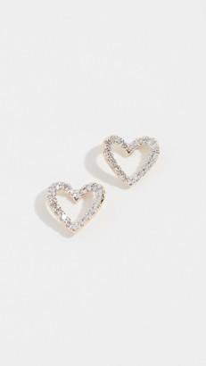 Adina Reyter 14k Tiny Pave Open Folded Heart Post Earrings