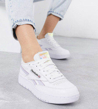 Reebok Club C Double trainers with lilac and iridescent detail exclusive to ASOS