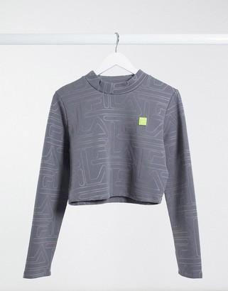 Fila all over logo long sleeve crop top in gray