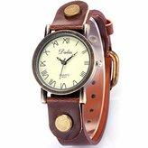 Mix&Rock Girl Lady Vintage Coffee Alloy Case Bracelet Leather Analog Quartz Wrist Watch