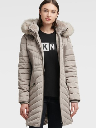 DKNY Contour Puffer With Faux Fur Hood