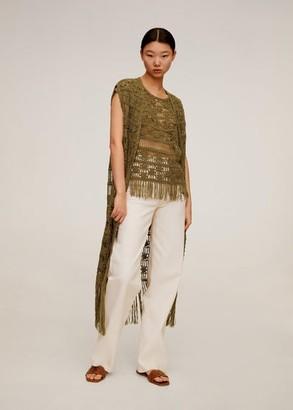 MANGO Fringed crochet vest