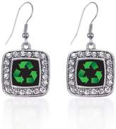 Inspired Silver Recycle Classic Charm Earrings Square French Hook Clear Crystal Rhinestones