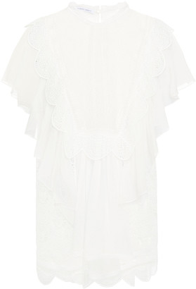 Alberta Ferretti Ruffled Silk-chiffon And Guipure Lace Top