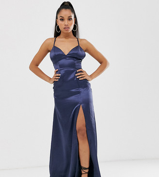 Club L London Petite satin plunge front maxi dress with high thigh split in navy
