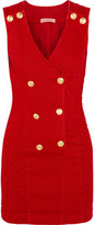 Pierre Balmain Double-breasted Quilted Corduroy Mini Dress - Red