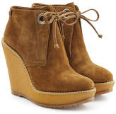 Burberry Suede Ankle Boot Wedges